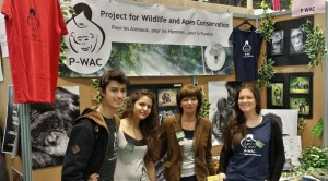 Loïc, Mégane, Chantal and Amandine, in front of P-WAC's booth